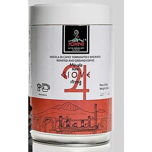 Giove: 80% Robusta und 20% Arabica - gemahlener Kaffee in der Dose - 0,25 Kilogramm - Pompeii Caffe