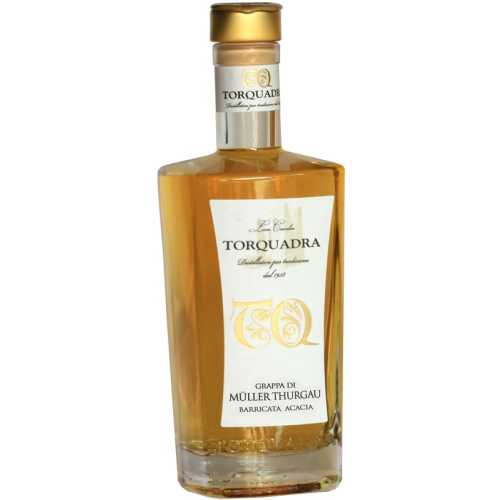 Grappa Müller Thurgau Barrique Acacia -  0,5 Liter - 40 vol. - in der Metalldose - Torquadra
