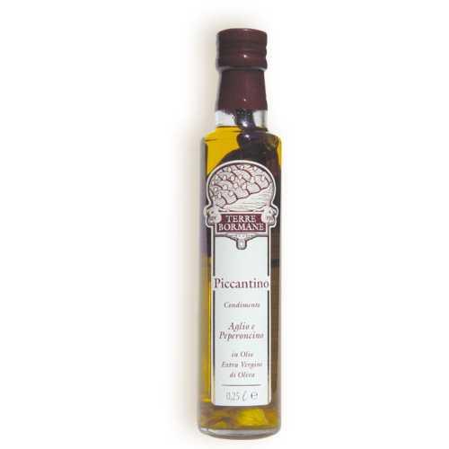 Piccantino - 0,25 Liter - Oliven-Öl mit Chilischoten und Knoblauch - Terre Bormane