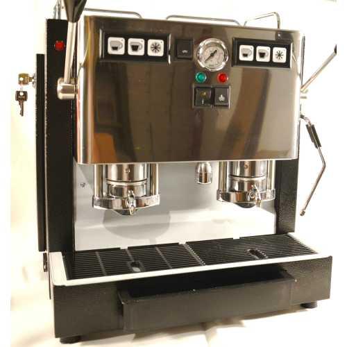 c: MiniMini Lux 2CAV - Schwarz-Edelstahl - Volumetrico - 2 * Kaffee, Heisswasser und Dampf - Spinel