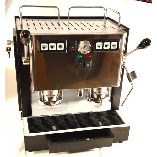 d: MiniMini Lux 2CAV - Schwarz-Edelstahl - XL - Volumetrico - 2 * Kaffee, Heisswasser und Dampf - Spinel