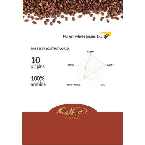 Harem - 100% Arabica inkl. Jamaica Blue Mountain - Kaffee in Bohnen - 1 Kilogramm - Passalacqua Caffe