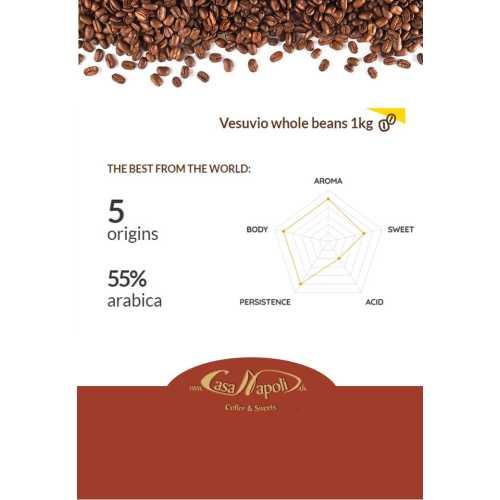 Vesuvio - 55% Arabica und 45% Robusta - Kaffee in Bohnen - 1 Kilogramm - Passalacqua Caffe