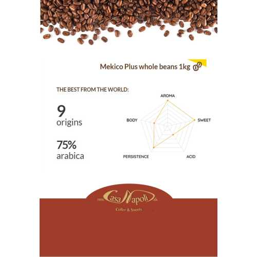 Mekico Plus - 75% Arabica - 25% Robusta - Kaffee in Bohnen - 1 Kilogramm - Passalacqua Caffe