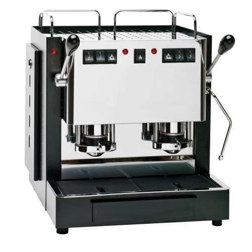 q: MiniMini 2CV - Schwarz-Edelstahl - XL - Volumetrico - 2 * Padhalter - 2 * Kaffee + Dampf - Spinel