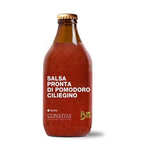 Fertige Kirsch-Tomatensauce - Bio, Gluten-Frei und Veganes Produkt - Salsa pronta di pomodoro ciliegino - 330 gr - Convivia Sicilia
