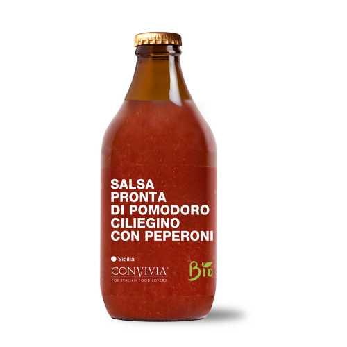 Fertige Kirsch-Tomatensauce mit Pfeffer - Bio, Gluten-Frei und Veganes Produkt - Salsa pronta di pomodoro ciliegino con peperoni - 330 gr - Convivia Sicilia