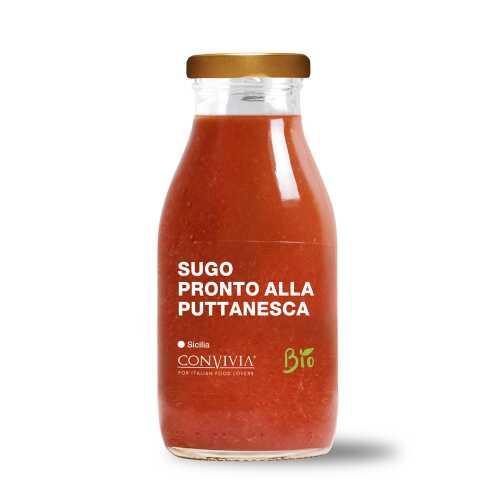 Fertige Kirsch-Tomatensauce nach Puttanesca Art - Bio, Gluten-Frei und Veganes Produkt - Sugo pronta di pomodoro ciliegino alla Puttanesca - 250 gr - Convivia Sicilia