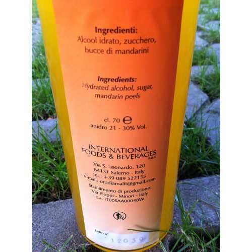 Mandarin Liqueur from Amalfi - 1,0 Liter - 30 vol. - Bottle: Cristal - LOro di Amalfi