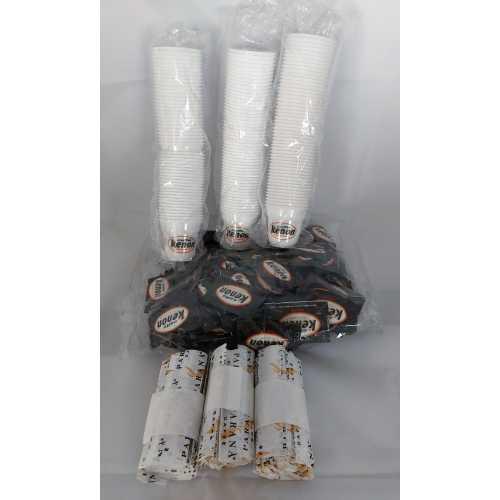 Kaffee-Kit - 150 Becher - 150 Zuckertüten - 150 Rührstäbchen