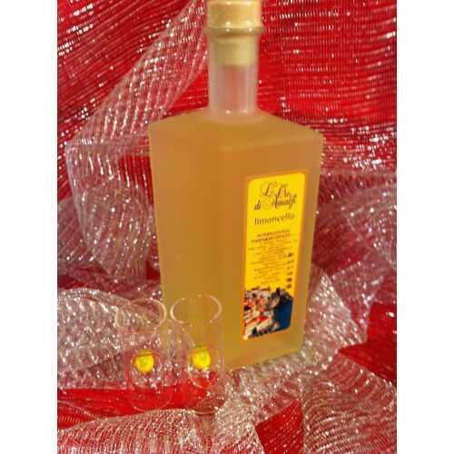 Limoncello mit zwei passenden Gläsern - Flasche Rombo