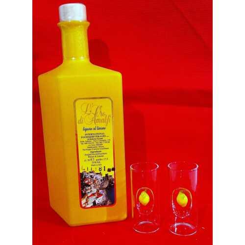 Limoncello mit zwei passenden Gläsern - Flasche Rombo gelb